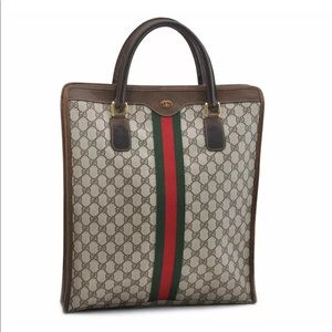 Authentic GUCCI monogram brown coated canvas tote